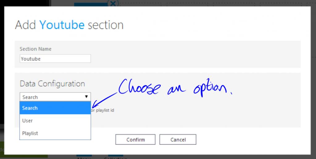 Choosing a YouTube option